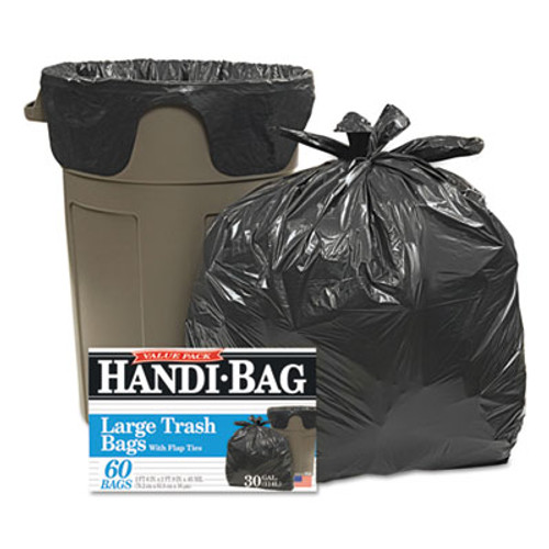 Handi-Bag Super Value Pack Trash Bags, 30gal, .65mil, 30 x 33, Black, 60/Box (WBIHAB6FT60)