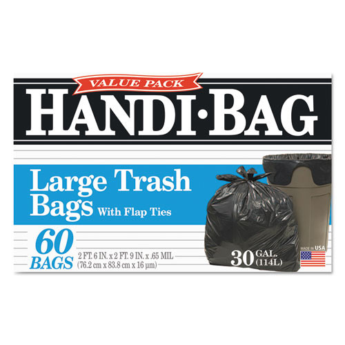 Handi-Bag Super Value Pack  30 gal  0 65 mil  30  x 33   Black  60 Box (WBIHAB6FT60)