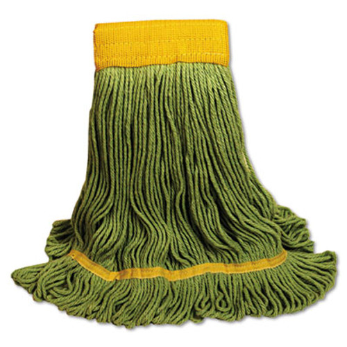 Boardwalk EcoMop Looped-End Mop Head  Recycled Fibers  Large Size  Green (BWK1200LEA)