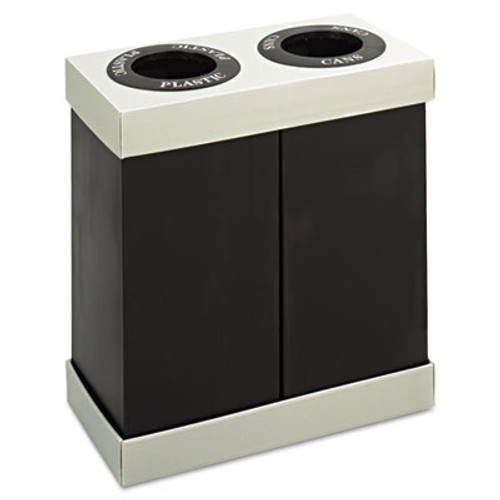 Safco At-Your-Disposal Recycling Center  Polyethylene  Two 56 gal Bins  Black (SAF9794BL)
