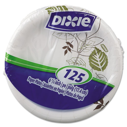 Dixie Pathways Soak-Proof Shield Mediumweight Paper Plates  6 7 8   Grn Burg  125 Pk (DXEUX7WSPK)