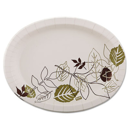 Dixie Ultra Pathways Heavyweight Oval Platters  8 1 2 x 11  Green Burgundy  125 Pack (DXESX11PLPATHPK)
