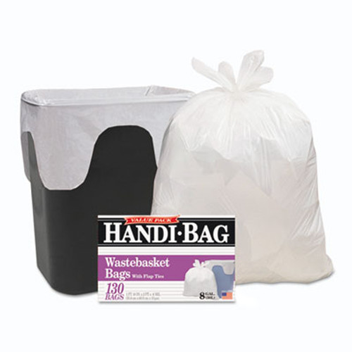 Handi-Bag Super Value Pack  8 gal  0 6 mil  22  x 24   White  130 Box (WBIHAB6FW130)