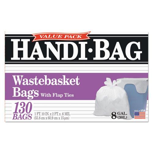 Handi-Bag Super Value Pack  8 gal  0 6 mil  22  x 24   White  130 Box (WBIHAB6FW130)