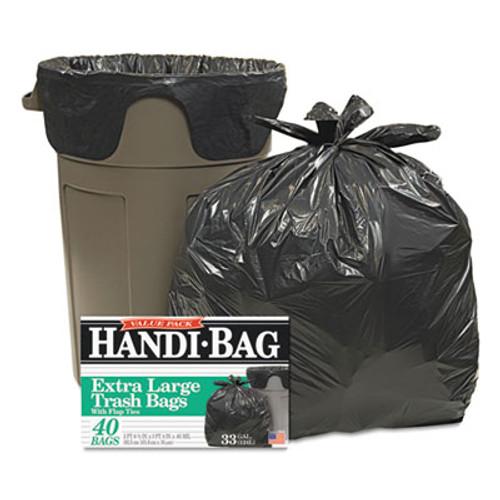 Handi-Bag Super Value Pack Trash Bags, 33gal, .65mil, 32.5 x 40, Black, 40/Box (WBIHAB6FTL40)