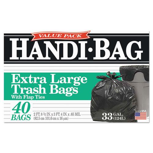 Handi-Bag Super Value Pack  33 gal  0 65 mil  32 5  x 40   Black  40 Box (WBIHAB6FTL40)