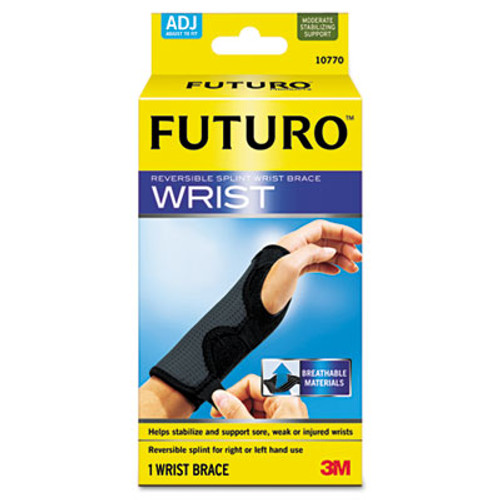 FUTURO Adjustable Reversible Splint Wrist Brace  Fits Wrists 5 1 2 - 8 1 2   Black (MMM10770EN)