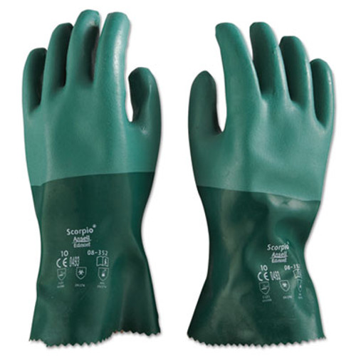 AnsellPro Scorpio Neoprene Gloves  Green  Size 10  12 Pairs (ANS835210)