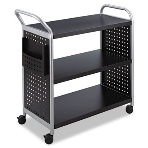 Safco Scoot Three-Shelf Utility Cart, 31w x 18d x 38h, Black/Silver (SAF5339BL)