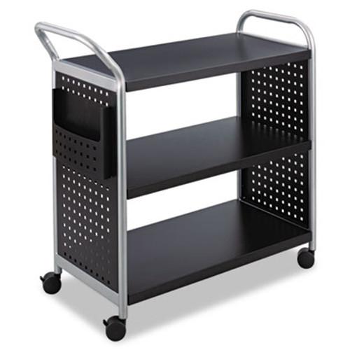 Safco Scoot Three-Shelf Utility Cart  31w x 18d x 38h  Black Silver (SAF5339BL)
