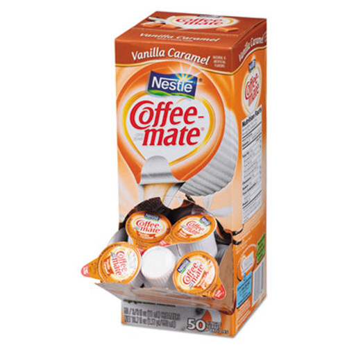 Coffee mate Liquid Coffee Creamer  Vanilla Caramel  0 38 oz Mini Cups  50 Box (NES79129)