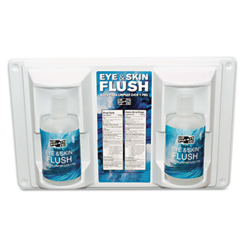 Pac-Kit Twin Bottle Eye Flush Station w Two 16oz Bottles  3 75 D x 13 5 H x 16 5 W (PKT24102)
