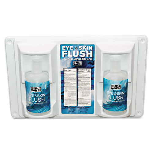 Pac-Kit Twin Bottle Eye Flush Station w Two 16oz Bottles  3 75 D x 13 5 H x 16 5 W (PKT24102)