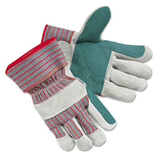 Memphis Men's Economy Leather Palm Gloves, White/Red, Large, 12 Pairs (MPG1211J)