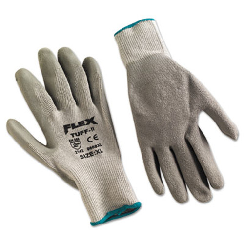 MCR Safety FlexTuff Latex Dipped Gloves  Gray  X-Large  12 Pairs (MPG9688XL)