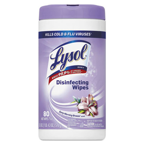 LYSOL Brand Disinfecting Wipes  7 x 8  Early Morning Breeze  80 Wipes Canister  6 Canisters Carton (RAC89347CT)