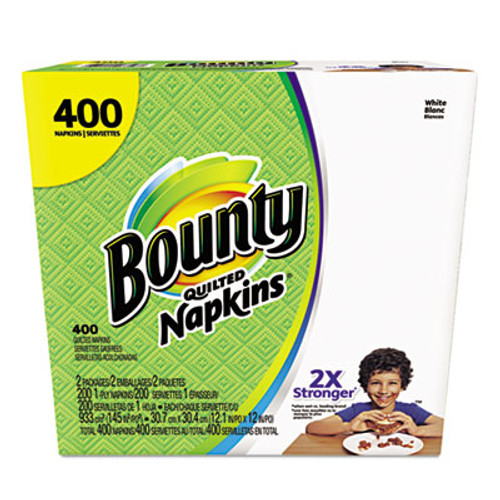 Bounty Quilted Napkins, 1-Ply, 12.2 x 12, White, 200/Pack, 400/Carton (PGC06356)