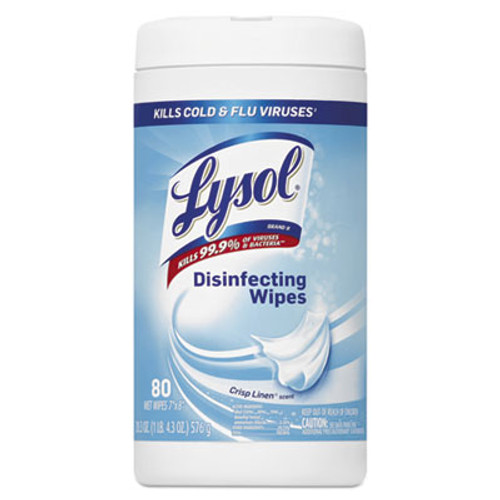 LYSOL Brand Disinfecting Wipes  7 x 8  Crisp Linen  80 Wipes Canister  6 Canisters Carton (RAC89346CT)