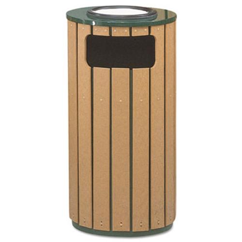 Rubbermaid Commercial Regent 50 Ash/Trash Receptacle, Green Enamel/Brown Cedar Plastic, 12 gal (RCPR23SU50PL)
