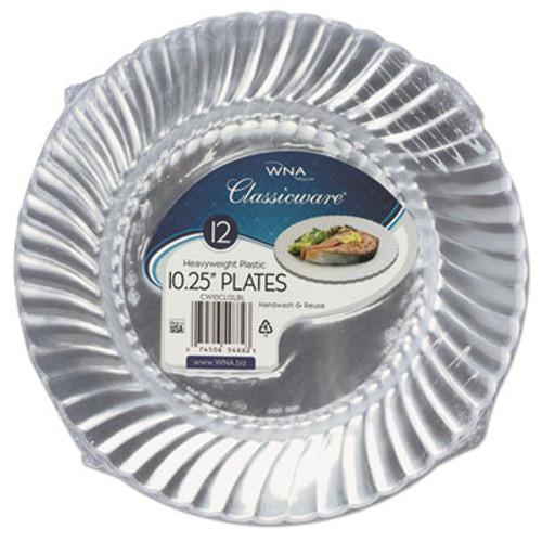 WNA Classicware Plastic Dinnerware Plates  10 1 4  Dia  Clear  12 Pack (WNARSCW101212PK)