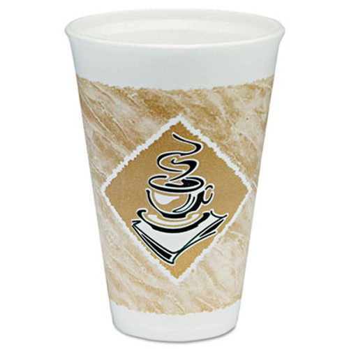 Dart Café G Hot/Cold Cups, Foam, 16 oz, White/Brown with Green Accents, 25/Pack (DCC16X16GPK)