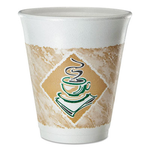 Dart Cafe G Foam Hot Cold Cups  8 oz  Brown Green White  25 Pack (DCC8X8GPK)