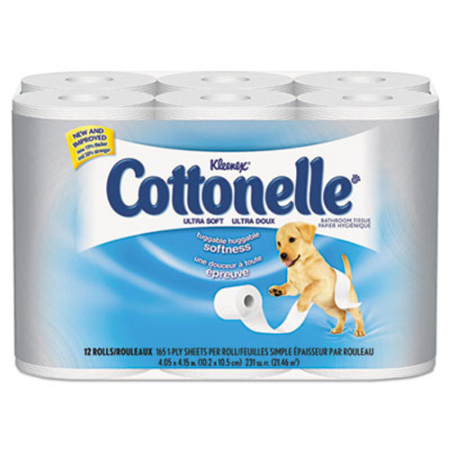 Cottonelle Clean Care Bathroom Tissue  Septic Safe  1-Ply  White  170 Sheets Roll  12 Rolls Pack (KCC12456PK)