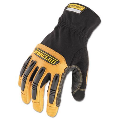 Ironclad Ranchworx Leather Gloves  Black Tan  Medium (IRNRWG203M)