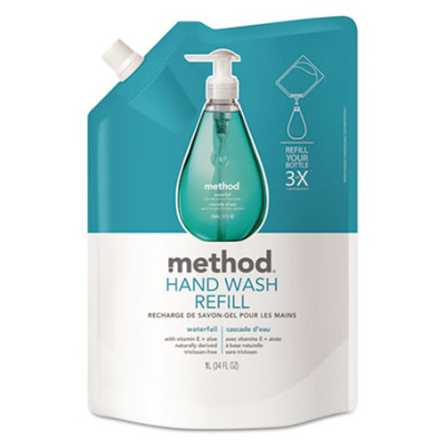 Method Gel Hand Wash Refill, Waterfall, 34 oz Pouch (MTH01181)