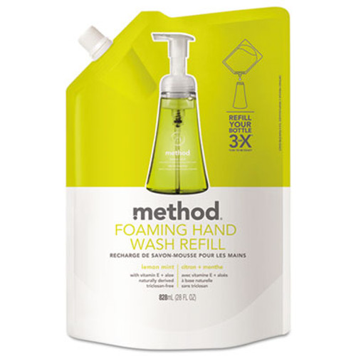 Method Foaming Hand Wash Refill, Lemon Mint, 28 oz Pouch (MTH01365)