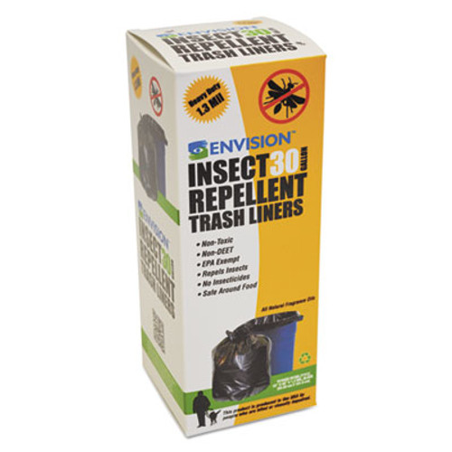Stout by Envision Insect-Repellent Trash Bags  33 gal  1 3 mil  33  x 40   Black  10 Box (STOSTOP3340K13R)