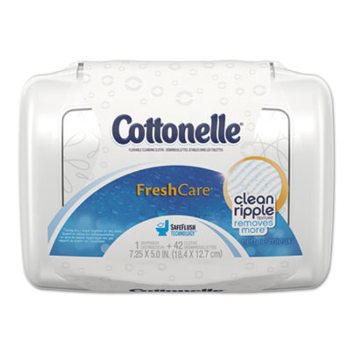 Cottonelle Fresh Care Flushable Cleansing Cloths  White  3 75 x 5 5  42 Pack (KCC36734)