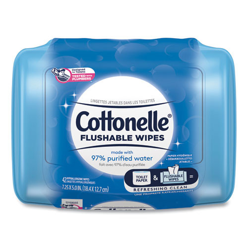 Cottonelle Fresh Care Flushable Cleansing Cloths  White  3 75 x 5 5  42 Pack (KCC36734)