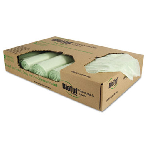 """Heritage Biotuf Compostable Can Liners, 32 gal, 1 mil, 34"""" x 48"""", Green, 100/Carton (HERY6848YER01)"""