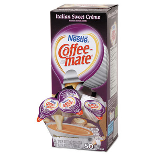Coffee mate Liquid Coffee Creamer  Italian Sweet Creme  0 38 oz Mini Cups  50 Box (NES84652)