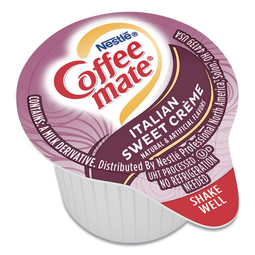 Coffee mate Liquid Coffee Creamer  Italian Sweet Creme  0 38 oz Mini Cups  50 Box (NES84652)