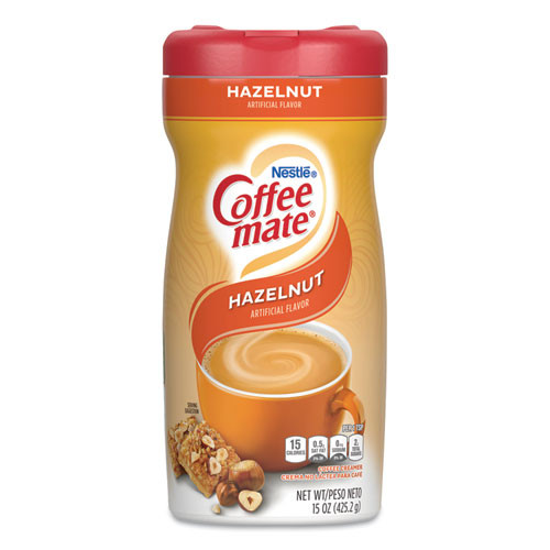 Coffee mate Non-Dairy Powdered Creamer  Hazelnut  15 oz Canister  12 Carton (NES12345CT)