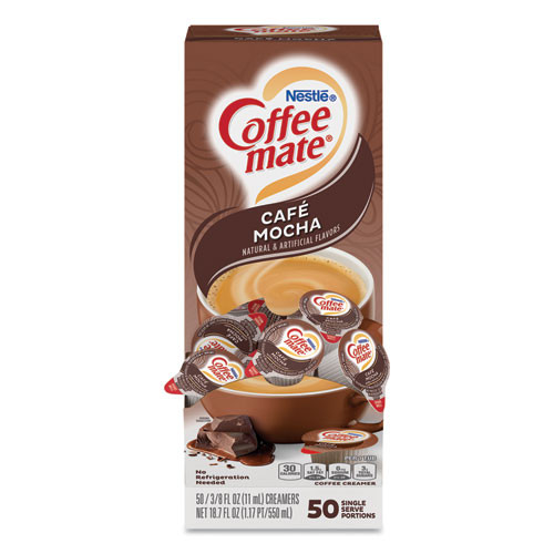 Coffee mate Liquid Coffee Creamer  Cafe Mocha  0 38 oz Mini Cups  50 Box  4 Boxes Carton  200 Total Carton (NES35115CT)