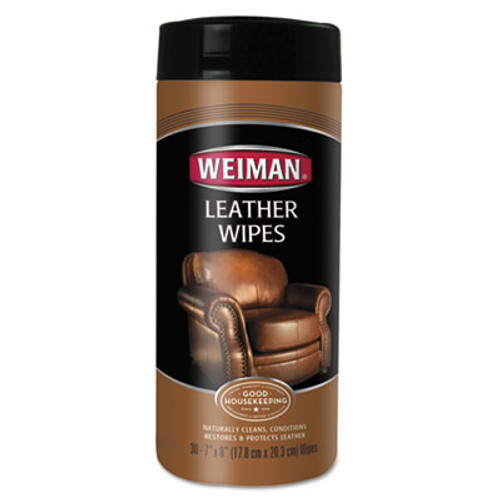 WEIMAN Leather Wipes, 7 x 8, 30/Canister (WMN91)