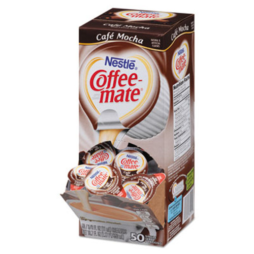 Coffee-mate Liquid Coffee Creamer, Café Mocha, 0.375 oz Cups, 50/Box (NES35115)
