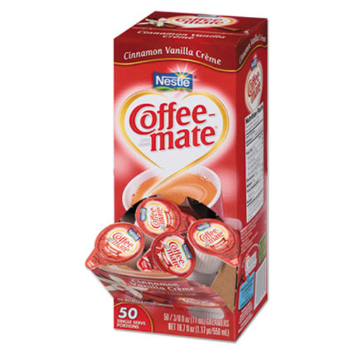 Coffee mate Liquid Coffee Creamer  Cinnamon Vanilla  0 38 oz Mini Cups  50 Box (NES42498)