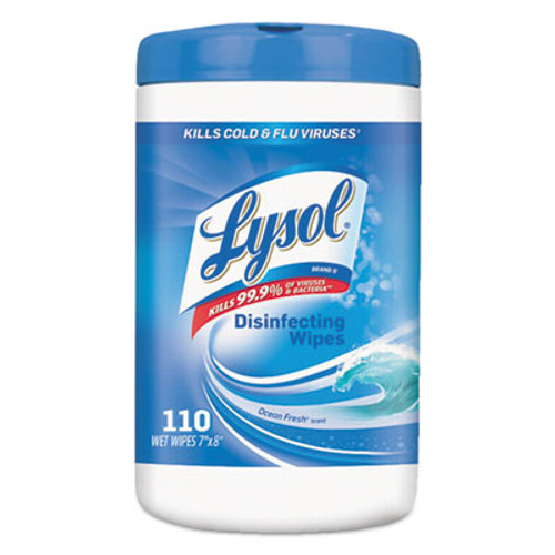 LYSOL Brand Disinfecting Wipes, Ocean Fresh Scent, 7 x 8, White, 110/Canister (RAC93010)