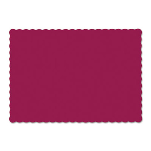Hoffmaster Solid Color Scalloped Edge Placemats  9 5 x 13 5  Burgundy  1 000 Carton (HFM310524)