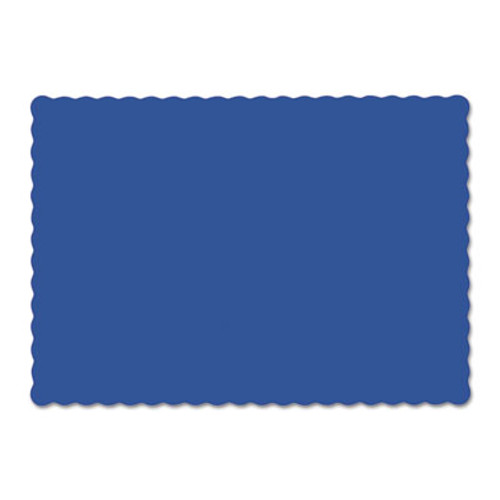 Hoffmaster Solid Color Scalloped Edge Placemats, 9 1/2 x 13 1/2, Navy Blue, 1000/Carton (HFM310523)