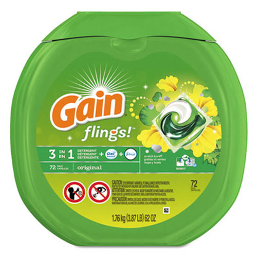 Gain Flings Detergent Pods, Original, 0.06 Pac, 72/Container, 4 Container/Carton (PGC86792CT)