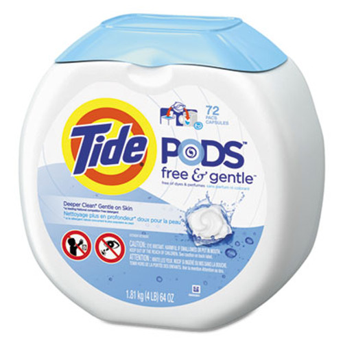 Tide Free   Gentle Laundry Detergent  Pods  72 Pack  4 Packs Carton (PGC89892CT)