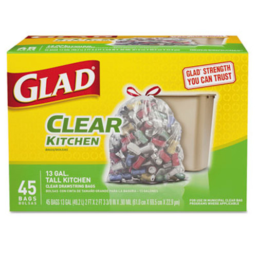 Glad Recycling Tall Kitchen Trash Bags, Clear, Drawstring, 13 gal, .9 mil, 45/Box (CLO78543)