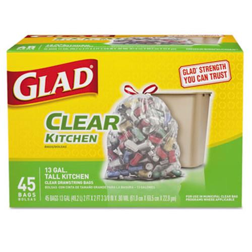 Glad Recycling Tall Kitchen Drawstring Trash Bags  13 gal  0 9 mil  24  x 27 38   Clear  45 Box (CLO78543)