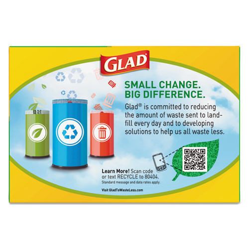 Glad Recycling Tall Kitchen Drawstring Trash Bags  13 gal  0 9 mil  24  x 27 38   Clear  45 Box (CLO78543)