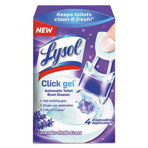 LYSOL Brand Click Gel Automatic Toilet Bowl Cleaner  Lavender Fields  0 68 oz  4 Box (RAC92919)